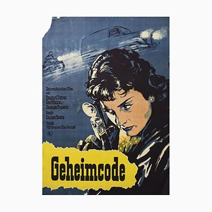 Vintage Film Poster Secret Code, Romanian Thriller, Defa Berlin, 1960