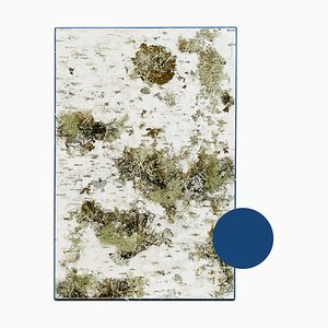 Small Edge Blue Birch Wall Panel with Moss and Lichen from Moya