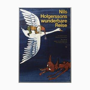Vintage Nils Holgerssons Wonderful Trip Filmplakat, Defa Berlin, 1966