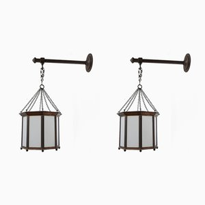 English Lanterns, Wall Lights or Ceiling Lamps, 1920s, Set of 2