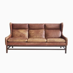 Scandinavian Brown Leather 3-Seater Sofa, 1960s