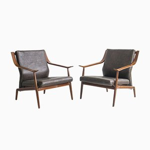Italian Wooden Armchairs with Faux Leather Upholstery, 1950s, Set of 2