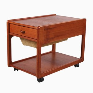 Danish Teak Sewing Table with Leather Drawer, 1960s