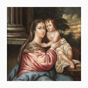 Antique Italian Painting Virgin with Child, 19th Century