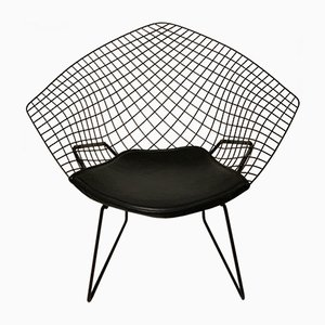 Mid-Century Vintage Modell 421 Chair mit Lederpolsterung von Harry Bertoia für Knoll Inc. / Knoll International