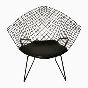 Mid-Century Vintage Modell Diamond 421 Stuhl mit Lederpolsterung von Harry Bertoia für Knoll Inc. / Knoll International