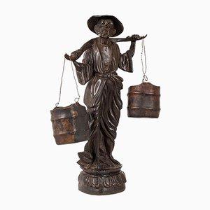 Antique Tall Decorative Bronze Water Carrier Figure, 1900s