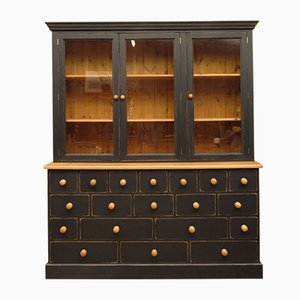 Black Painted Pine Apothecary Cabinet, 1980s