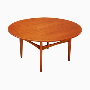 Swedish Round Teak Coffee Table by Karl-Erik Ekselius for JOC Vetlanda, 1950s
