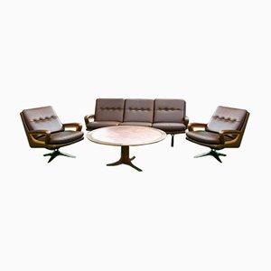 Vintage Sessel, Sofa & Tisch mit Kupfer Tischplatte, 4er Set