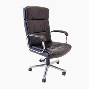 German Black Leather Office Chair, 1970s