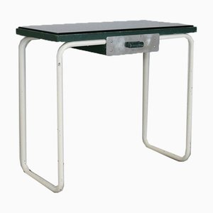 Tubular Steel Console Table with Black Glass Plate, 1950s