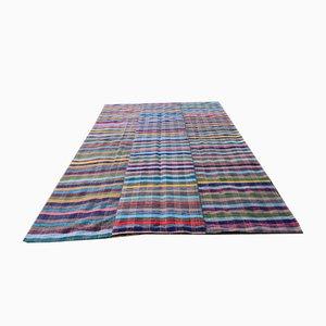 Vintage Handmade Turkish Striped Large Kilim Rug, 1970s