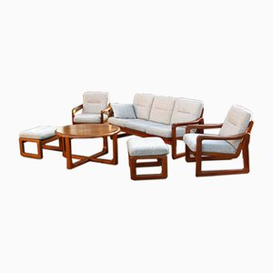 Dänisches Vintage Teak Sofa, Sessel & Fußhocker Set