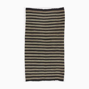 White and Black Striped Kilim Carpet by Turkish Nomads for Turkish Nomads, 1960s