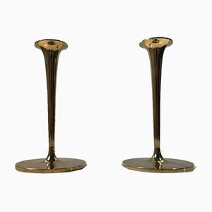Vintage Scandinavian Brass Candleholders, 1960s, Set of 2