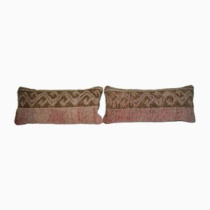 Hand Woven Orange Green Color Turkish Pillow Covers from Vintage Pillow Store Contemporary, Set of 2