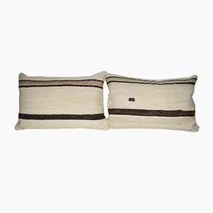 Vintage Minimalist Style Hemp Pillow Covers with Original Details from Vintage Pillow Store Contemporary, Set of 2