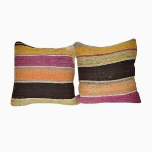 Gestreifte Türkische Kilim Kissenbezüge von Vintage Pillow Store Contemporary, 2er Set