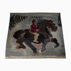 Horse & Rider Gewebte Tapisserie von Sten Kauppi, Schweden, 1979