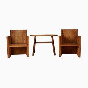 Stuhl & Tisch Set, Schweden, 1950er