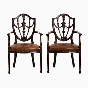 Mahogany Armchairs with Original Leather Seats, Set of 2