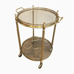 Round Brass Drinks Trolley, French, 1950s