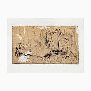 Gabriele Galantara - Satirische Szene - Original Stift und Bleistift - 1910er