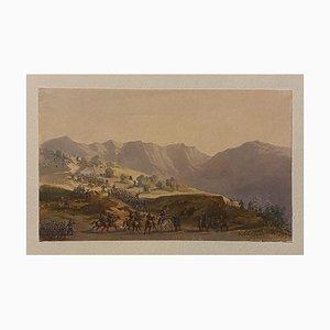 Gobaut Gaspard - Movement Troop - Encre et Watercolor Originale 19ème Siècle