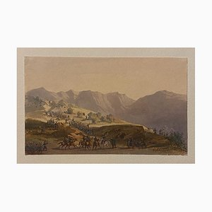 Gobaut Gaspard - Troop Movement - Original Ink and Watercolor- 19th Century