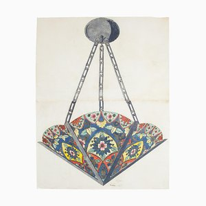 Unknown - Porcelain Lamp - Original Watercolor and Ink - Late 19th Century