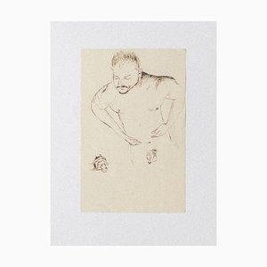 Inconnu - Nude Man - Original Pen and Pencil on Paper - 1930 Ca.