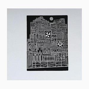 Luigi Spacal - City in the Night - Original Woodcut Print - 1970s
