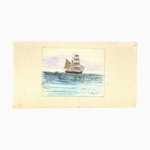 Unknown - Segelschiff - Original Pastell auf Papier - Frühes 20. Jahrhundert