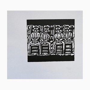 Luigi Spacal - Die Märtyrer von Basovizza - Original Holzstich Druck - 1950 Ca