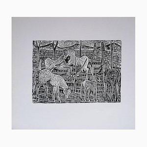 Luigi Spacal - Free Horses - Original Holzschnittdruck - 1940er
