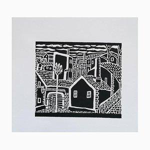 Luigi Spacal - Karst Village - Original Woodcut Print - 1950 Ca.
