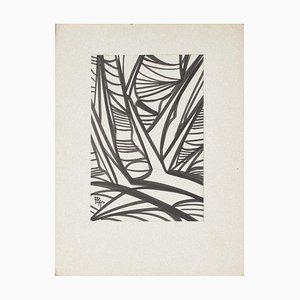 Unknown - Composition - Original Tinte auf Papier - Mitte des 20. Jahrhunderts