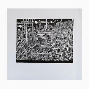 Luigi Spacal - der Taler der Drei Monde - Holzschnitt-Druck - 1940er