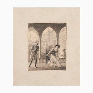Unknown - Interior Meeting - Original Pencil on Paper - 19th Century