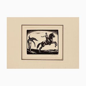 Unknown - Knight and Lady - Original Woodcut Print - Early 20th Century