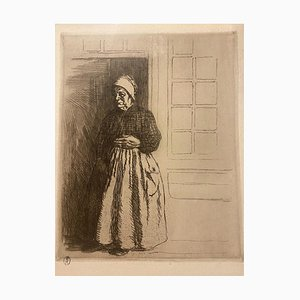 Charles Huard - Figure of Woman - Original Etching - Mid-20th Century