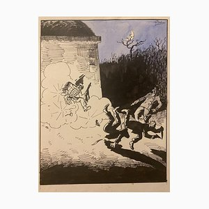 Unknown - the Outbreak - Original China Ink and Watercolor - 1950s