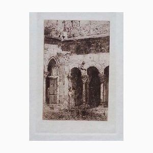 Luca Beltrami - St-Trophime Kreuzgang - Original Radierung auf Karton - 1877