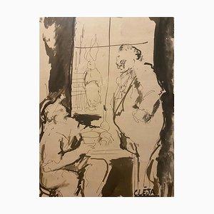 Ana Cleja - Meeting - Original Ink and Watercolor - 20th Century