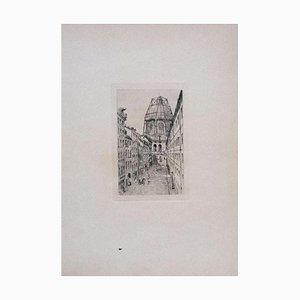 Luca Beltrami - Paris, Rue Mazarine - Original Radierung auf Karton - 1877