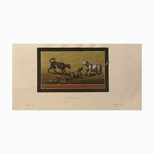 Francois Mazois - Fresco von Pompeji - Original Radierung - 1922