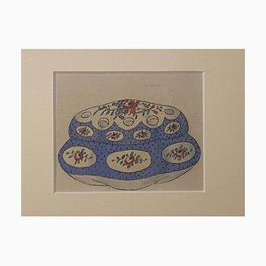Inconnu - Boîte en Porcelaine - Encre de Chine Original et Aquarelle - 1890s