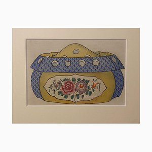 Unknown - Porcelain Box - Original China Ink and Watercolor - 1890s