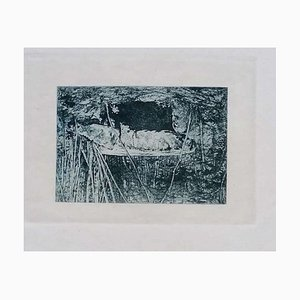 Luca Beltrami - Fontainebleau Forest - Original Etching - 1877